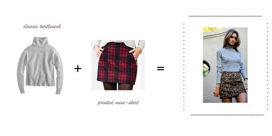 turtle neck flannel skirt