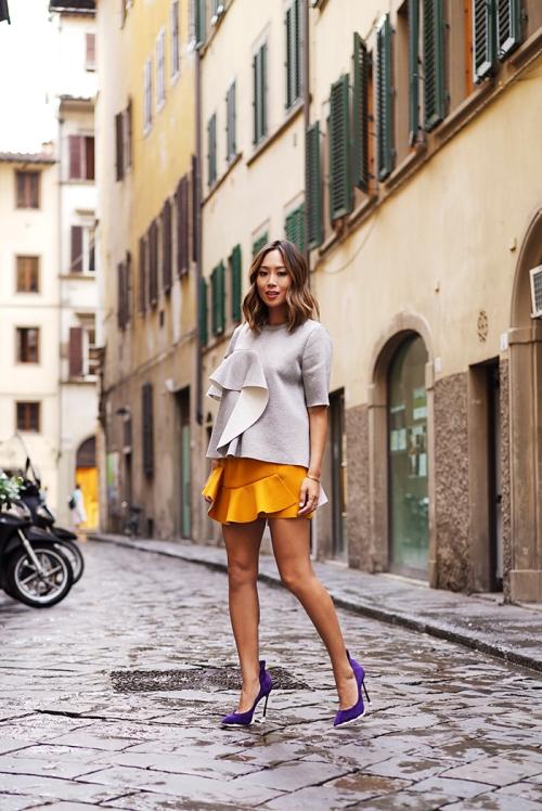 aimee_song_marni_ruffeled_jersey_top_yellow_ruffled_skirt_casadei_heels